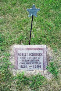 Civil War veteran Robert Scambler's gravesite at the intersection of County Road 9 and Highway 34, north of Pelican Rapids, at the Scambler Township cemetery.