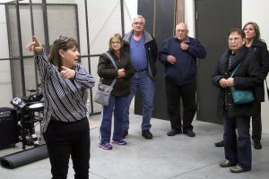Leading backstage tours of the new Fine Arts Auditorium after the Nov. 21 concert was Nadine Brown, foreground.